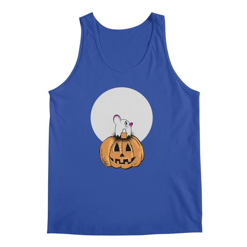 Halloween mouse in ghost costume. Men's Regular Tank by Sporkshirts's tshirt gamer movie and design shop.
