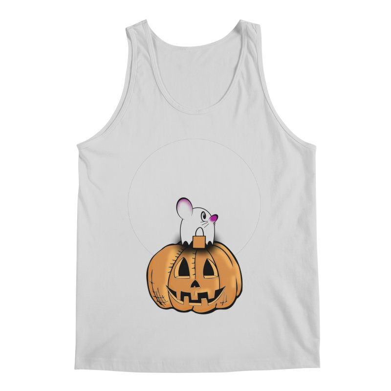 Halloween mouse in ghost costume. Men's Regular Tank by Make a statement, laugh, enjoy.