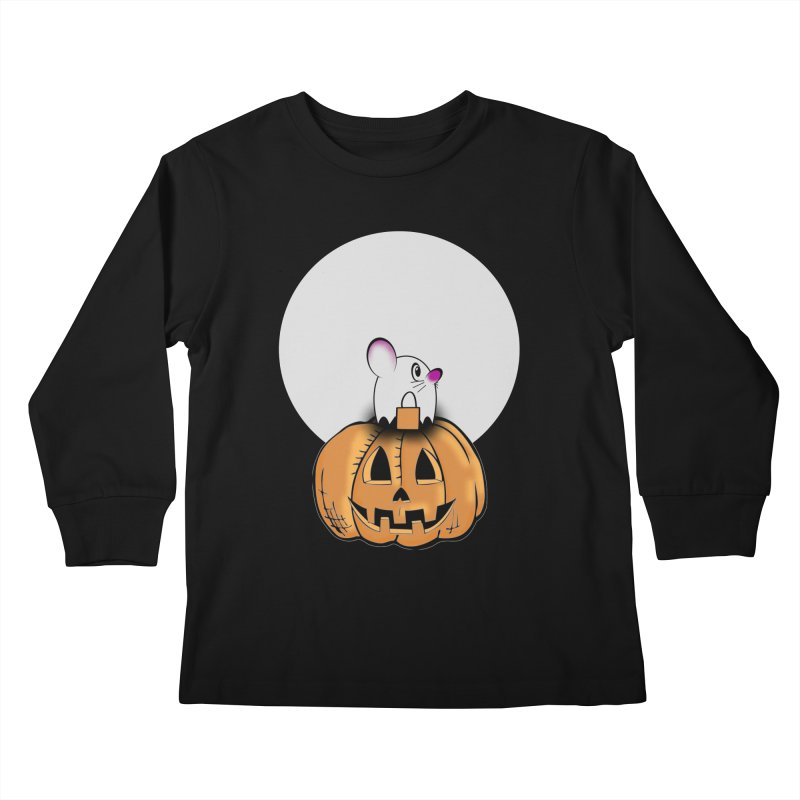 Halloween mouse in ghost costume. Kids Longsleeve T-Shirt by Make a statement, laugh, enjoy.