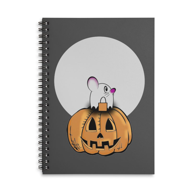 Halloween mouse in ghost costume. Accessories Lined Spiral Notebook by Make a statement, laugh, enjoy.