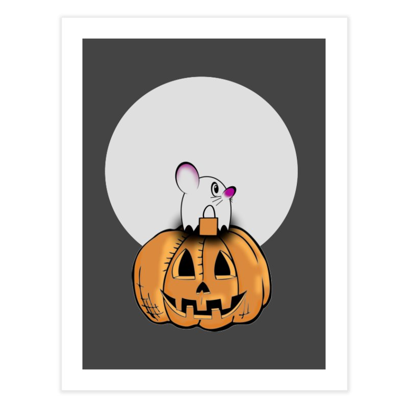 Halloween mouse in ghost costume. Home Fine Art Print by Make a statement, laugh, enjoy.