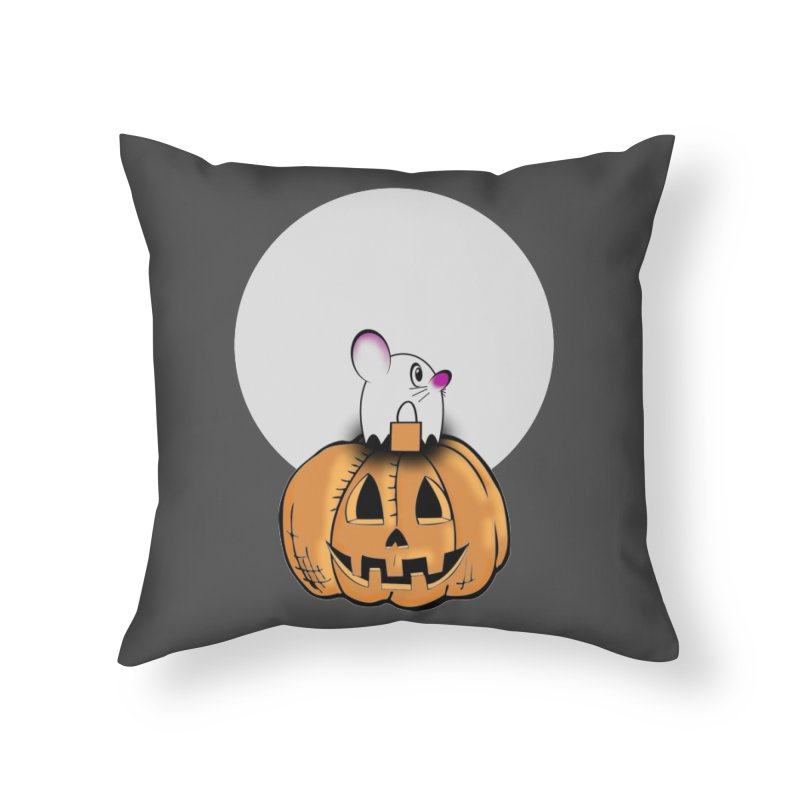 Halloween mouse in ghost costume. Home Throw Pillow by Sporkshirts's tshirt gamer movie and design shop.
