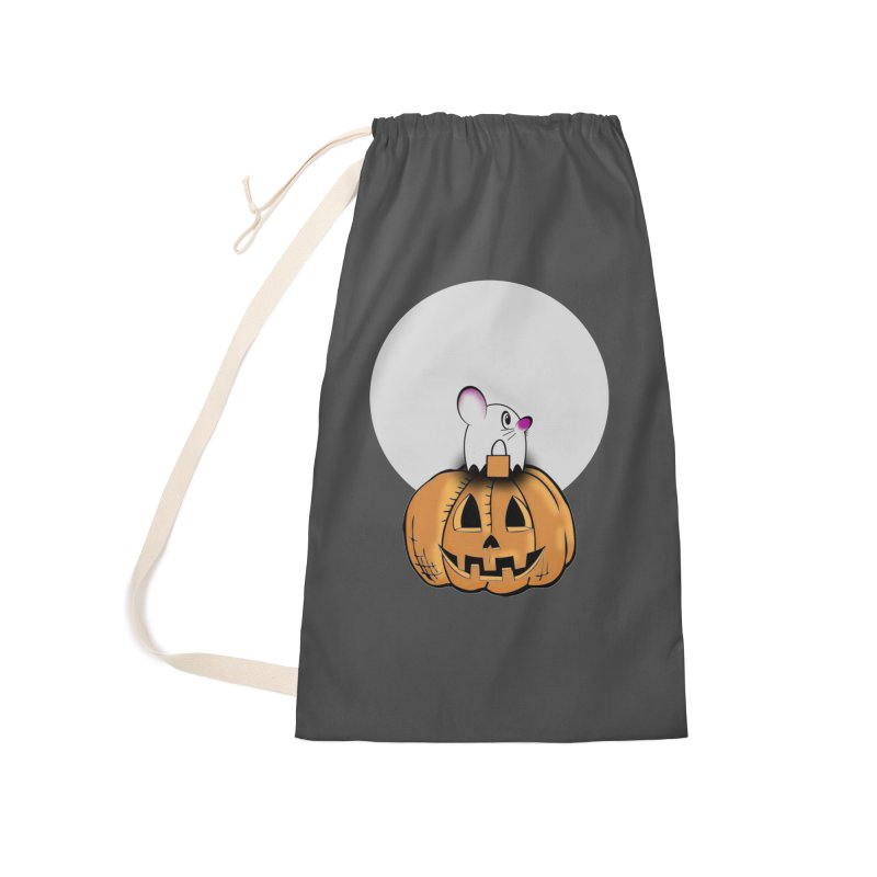 Halloween mouse in ghost costume. Accessories Laundry Bag Bag by Make a statement, laugh, enjoy.