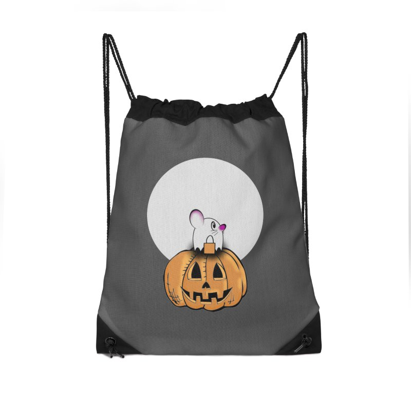 Halloween mouse in ghost costume. Accessories Drawstring Bag Bag by Make a statement, laugh, enjoy.