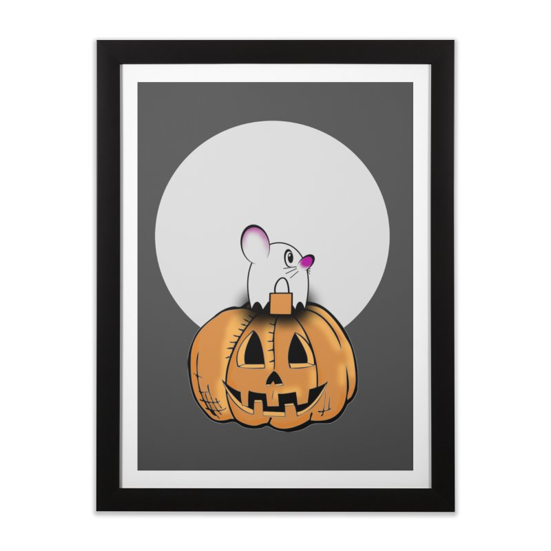 Halloween mouse in ghost costume. Home Framed Fine Art Print by Make a statement, laugh, enjoy.