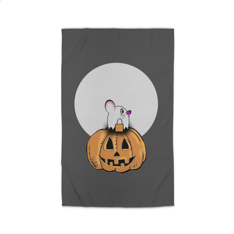 Halloween mouse in ghost costume. Home Rug by Make a statement, laugh, enjoy.