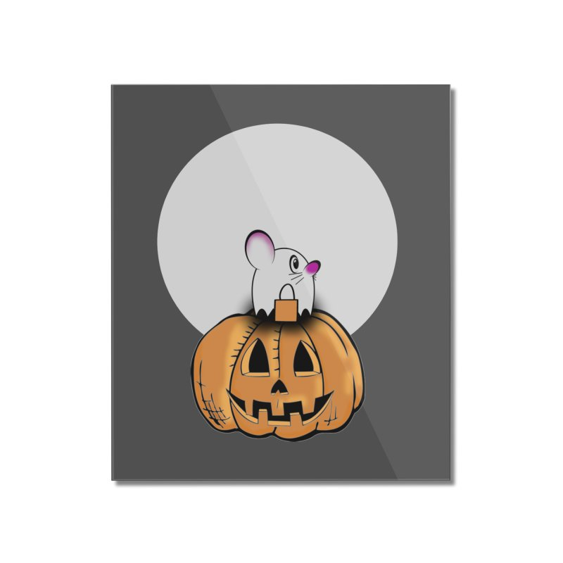 Halloween mouse in ghost costume. Home Mounted Acrylic Print by Make a statement, laugh, enjoy.
