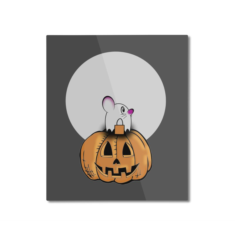 Halloween mouse in ghost costume. Home Mounted Aluminum Print by Sporkshirts's tshirt gamer movie and design shop.