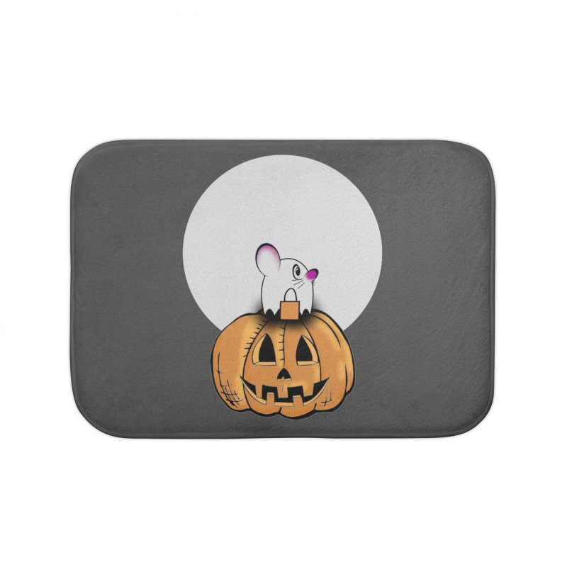 Halloween mouse in ghost costume. Home Bath Mat by Make a statement, laugh, enjoy.
