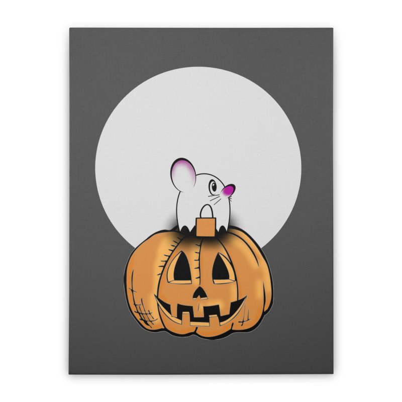 Halloween mouse in ghost costume. Home Stretched Canvas by Make a statement, laugh, enjoy.