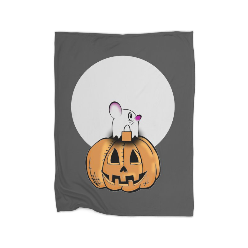 Halloween mouse in ghost costume. Home Fleece Blanket Blanket by Make a statement, laugh, enjoy.