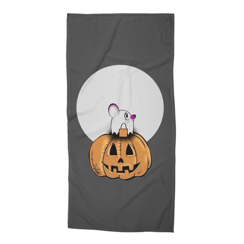 Halloween mouse in ghost costume. Accessories Beach Towel by Make a statement, laugh, enjoy.