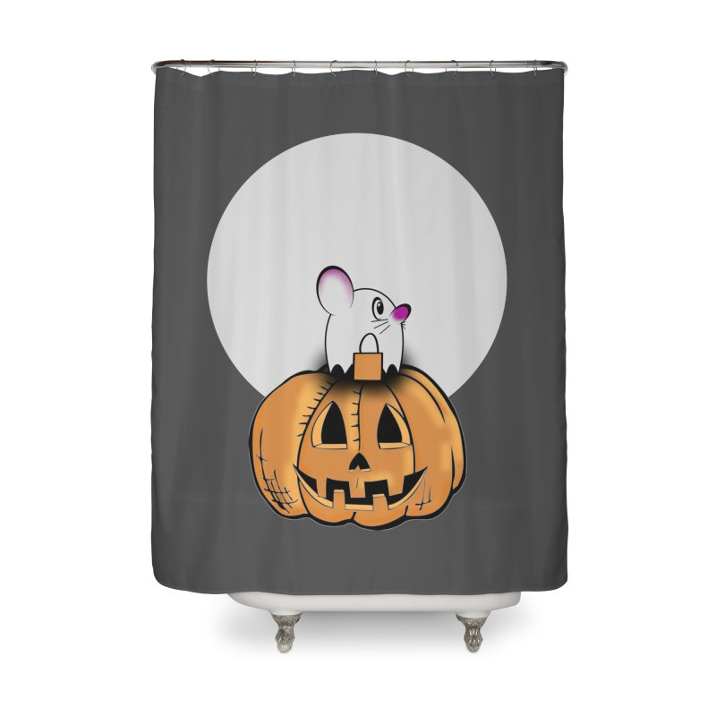 Halloween mouse in ghost costume. Home Shower Curtain by Sporkshirts's tshirt gamer movie and design shop.