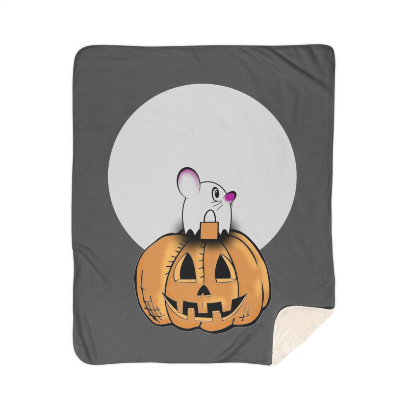 Halloween mouse in ghost costume. Home Sherpa Blanket Blanket by Make a statement, laugh, enjoy.