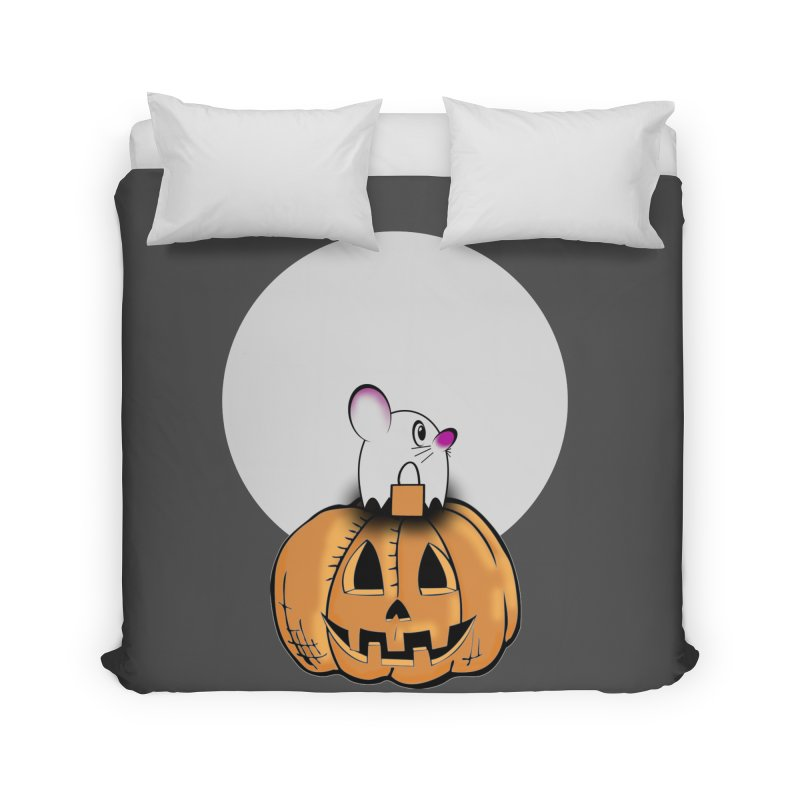 Halloween mouse in ghost costume. Home Duvet by Make a statement, laugh, enjoy.