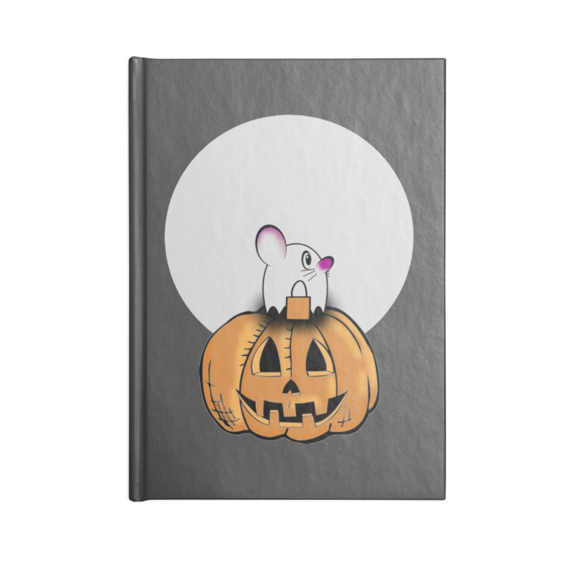 Halloween mouse in ghost costume. Accessories Blank Journal Notebook by Make a statement, laugh, enjoy.