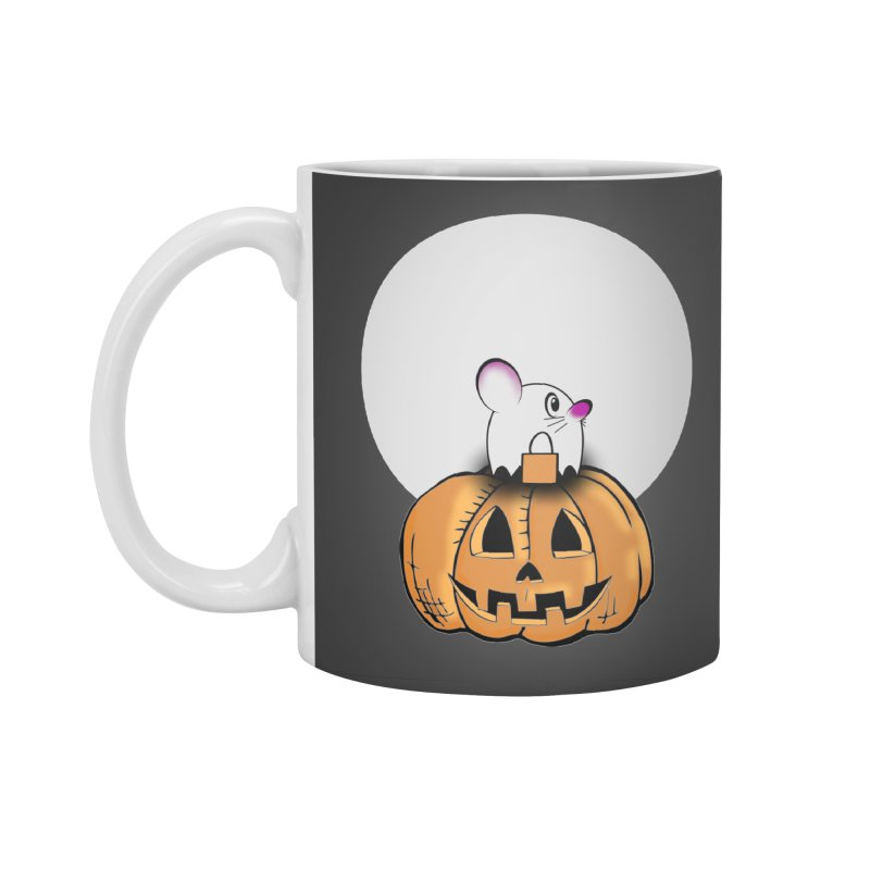 Halloween mouse in ghost costume. Accessories Standard Mug by Make a statement, laugh, enjoy.