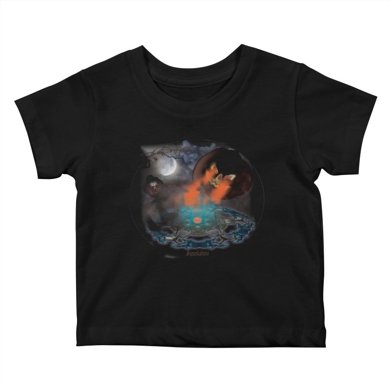 Evil Jack-o-Lantern Kids Baby T-Shirt by Make a statement, laugh, enjoy.