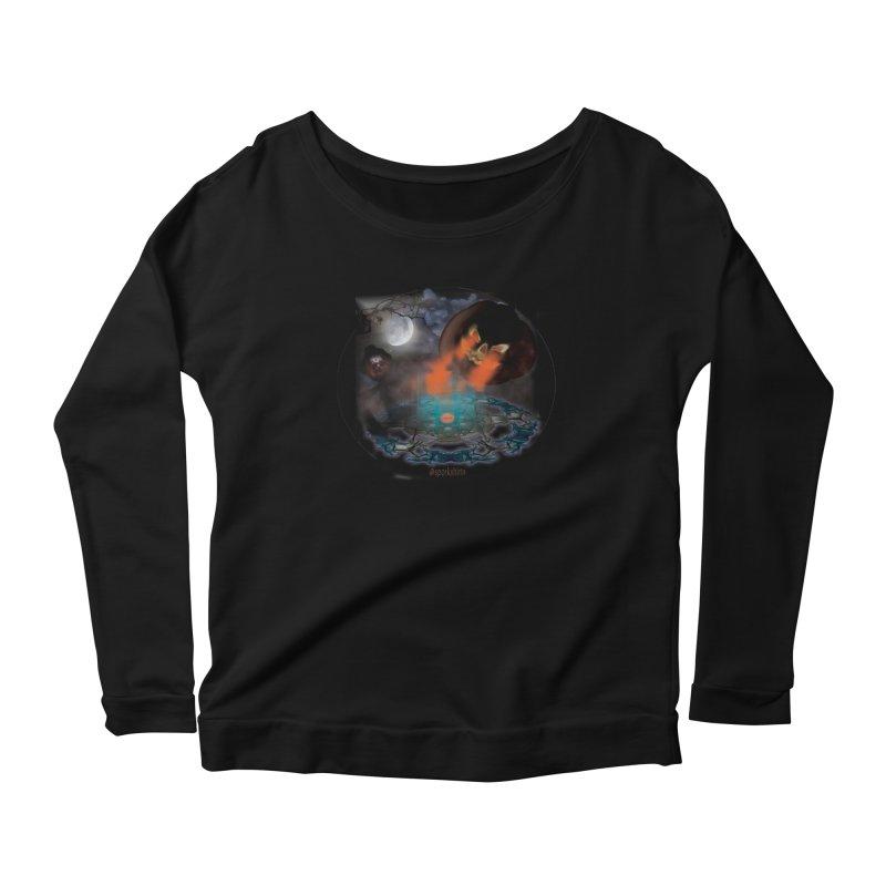 Evil Jack-o-Lantern Women's Scoop Neck Longsleeve T-Shirt by Make a statement, laugh, enjoy.