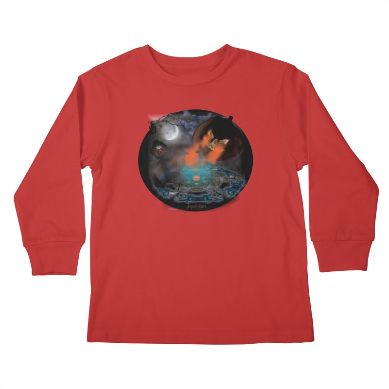 Evil Jack-o-Lantern Kids Longsleeve T-Shirt by Make a statement, laugh, enjoy.