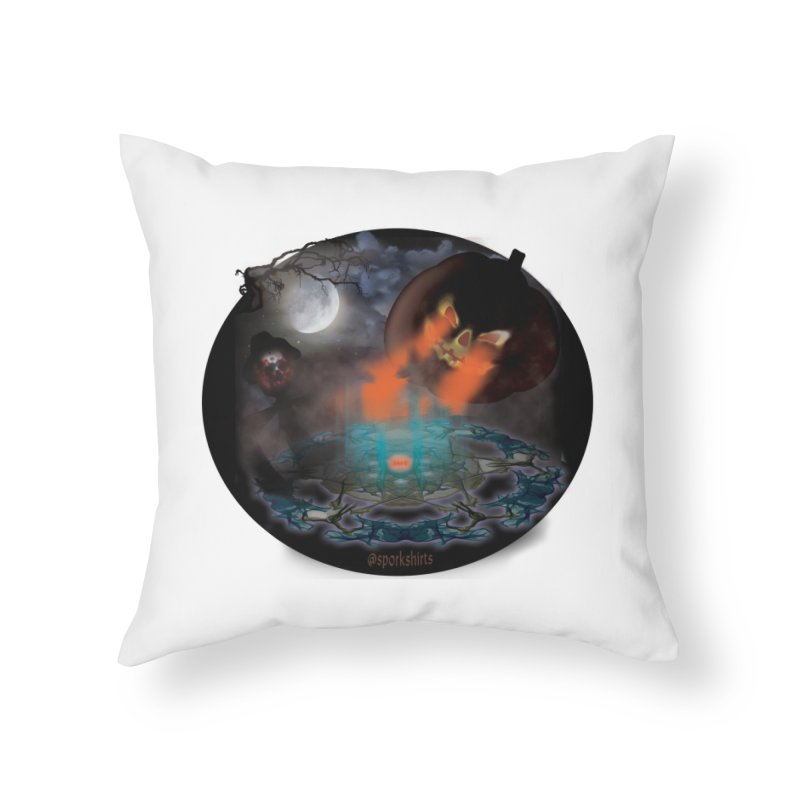 Evil Jack-o-Lantern Home Throw Pillow by Sporkshirts's tshirt gamer movie and design shop.
