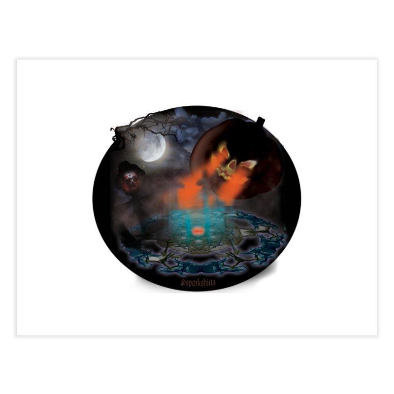 Evil Jack-o-Lantern Home Fine Art Print by Sporkshirts's tshirt gamer movie and design shop.