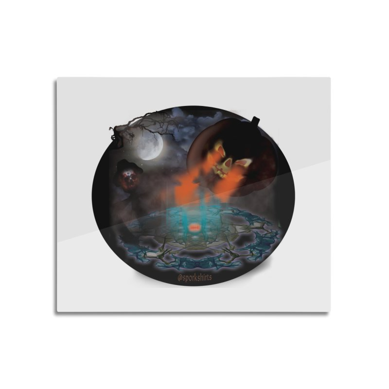 Evil Jack-o-Lantern Home Mounted Aluminum Print by Make a statement, laugh, enjoy.