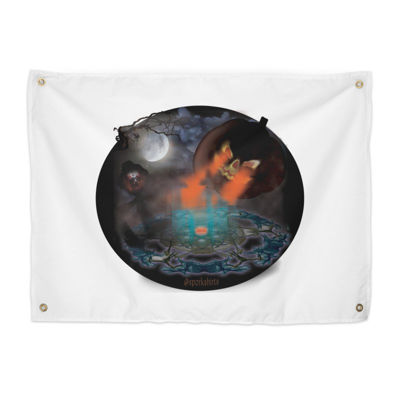 Evil Jack-o-Lantern Home Tapestry by Make a statement, laugh, enjoy.