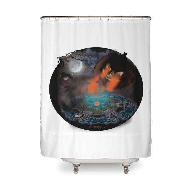 Evil Jack-o-Lantern Home Shower Curtain by Sporkshirts's tshirt gamer movie and design shop.