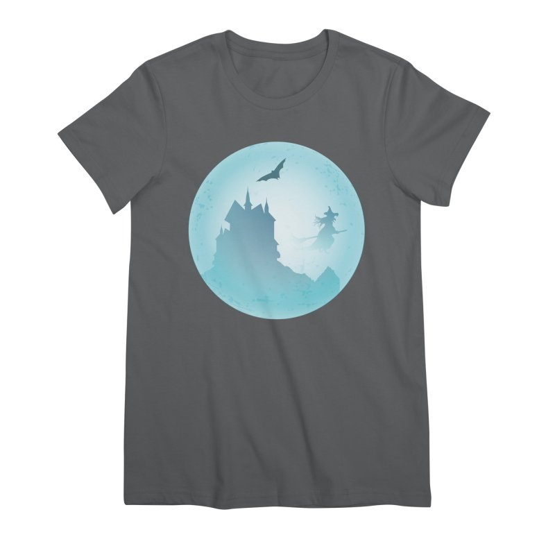Spooky castly with bat and witch sillouetted by moon in blue. Women's Premium T-Shirt by Make a statement, laugh, enjoy.