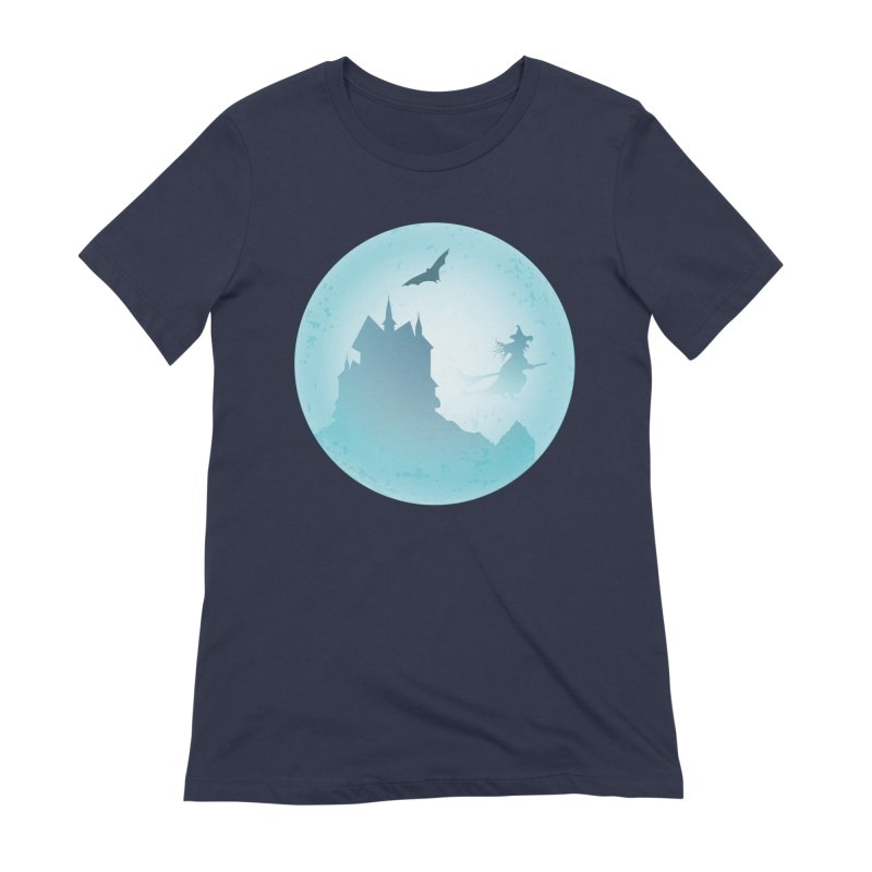 Spooky castly with bat and witch sillouetted by moon in blue. Women's Extra Soft T-Shirt by Sporkshirts's tshirt gamer movie and design shop.