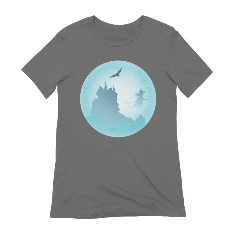 Spooky castly with bat and witch sillouetted by moon in blue. Women's T-Shirt by Make a statement, laugh, enjoy.