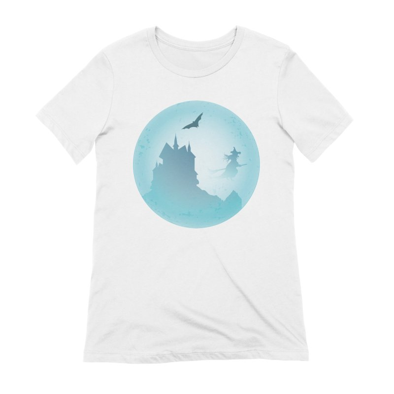 Spooky castly with bat and witch sillouetted by moon in blue. Women's Extra Soft T-Shirt by Make a statement, laugh, enjoy.