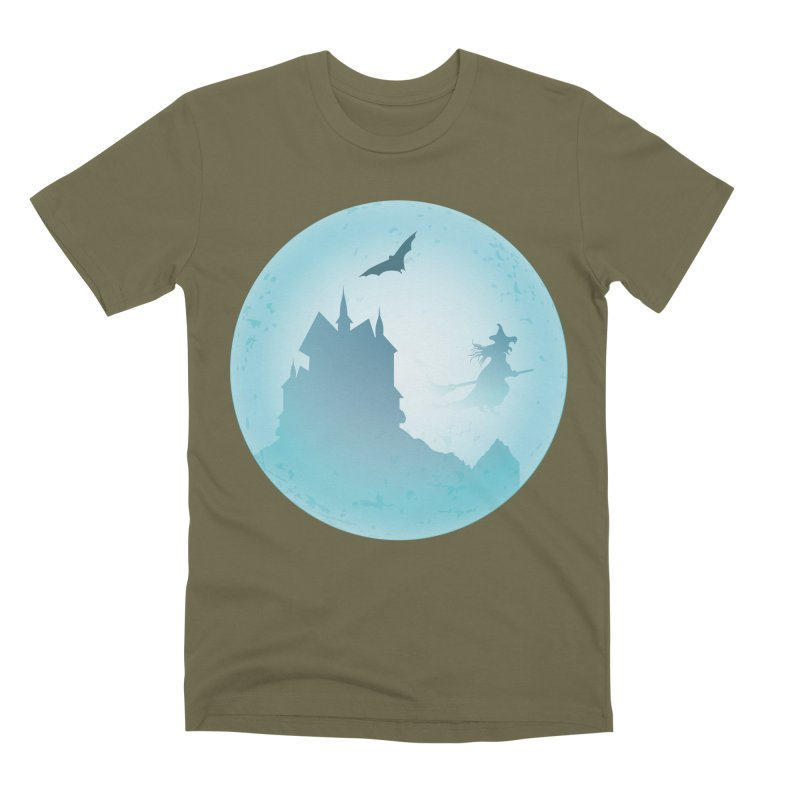 Spooky castly with bat and witch sillouetted by moon in blue. Men's Premium T-Shirt by Make a statement, laugh, enjoy.