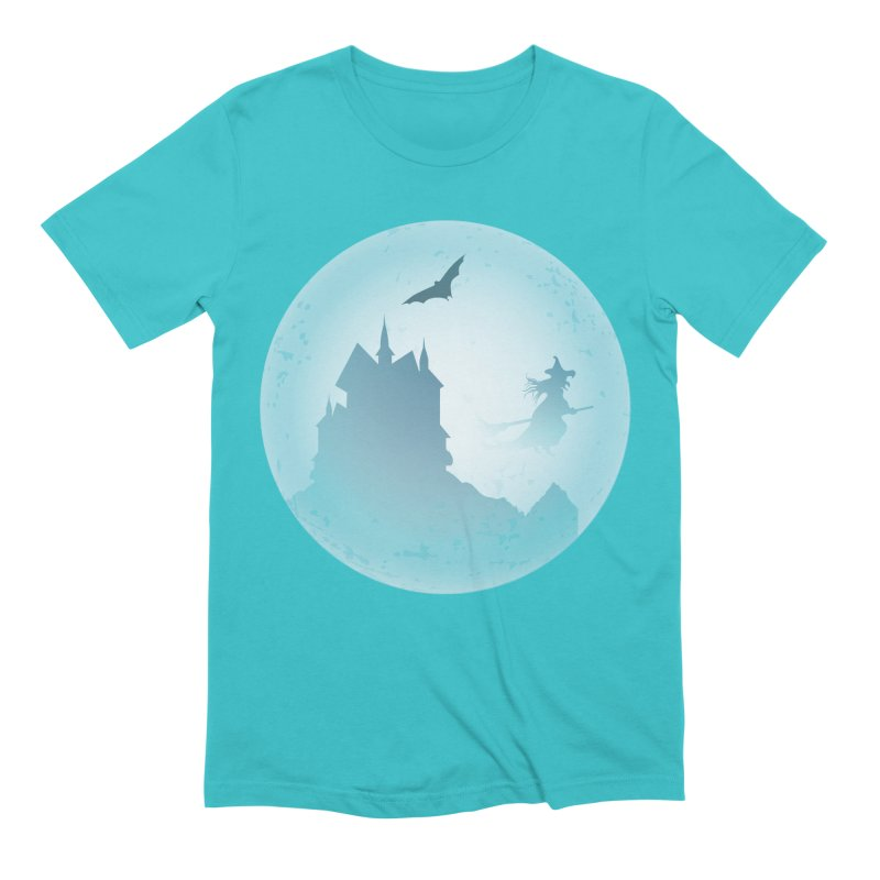 Spooky castly with bat and witch sillouetted by moon in blue. Men's Extra Soft T-Shirt by Sporkshirts's tshirt gamer movie and design shop.