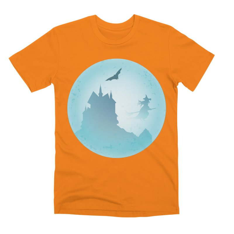 Spooky castly with bat and witch sillouetted by moon in blue. Men's Premium T-Shirt by Sporkshirts's tshirt gamer movie and design shop.