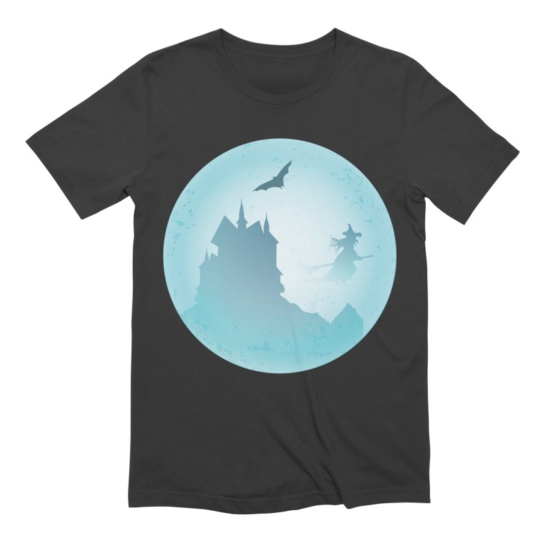 Spooky castly with bat and witch sillouetted by moon in blue. Men's Extra Soft T-Shirt by Make a statement, laugh, enjoy.