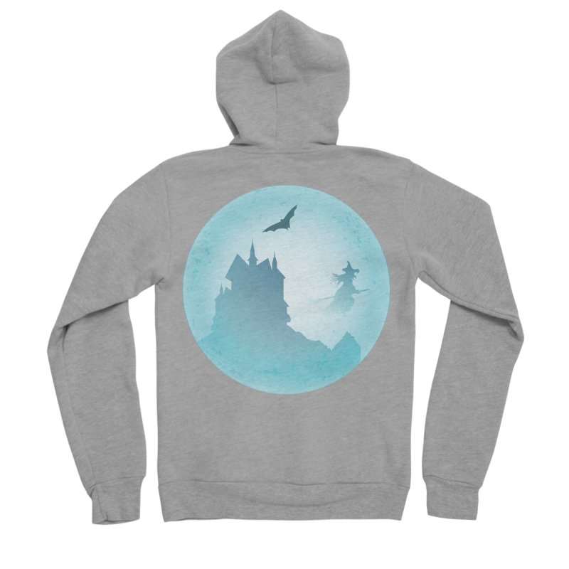 Spooky castly with bat and witch sillouetted by moon in blue. Men's Sponge Fleece Zip-Up Hoody by Make a statement, laugh, enjoy.