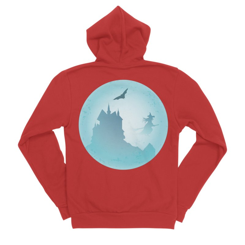 Spooky castly with bat and witch sillouetted by moon in blue. Women's Sponge Fleece Zip-Up Hoody by Sporkshirts's tshirt gamer movie and design shop.