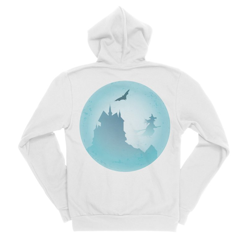 Spooky castly with bat and witch sillouetted by moon in blue. Women's Sponge Fleece Zip-Up Hoody by Make a statement, laugh, enjoy.