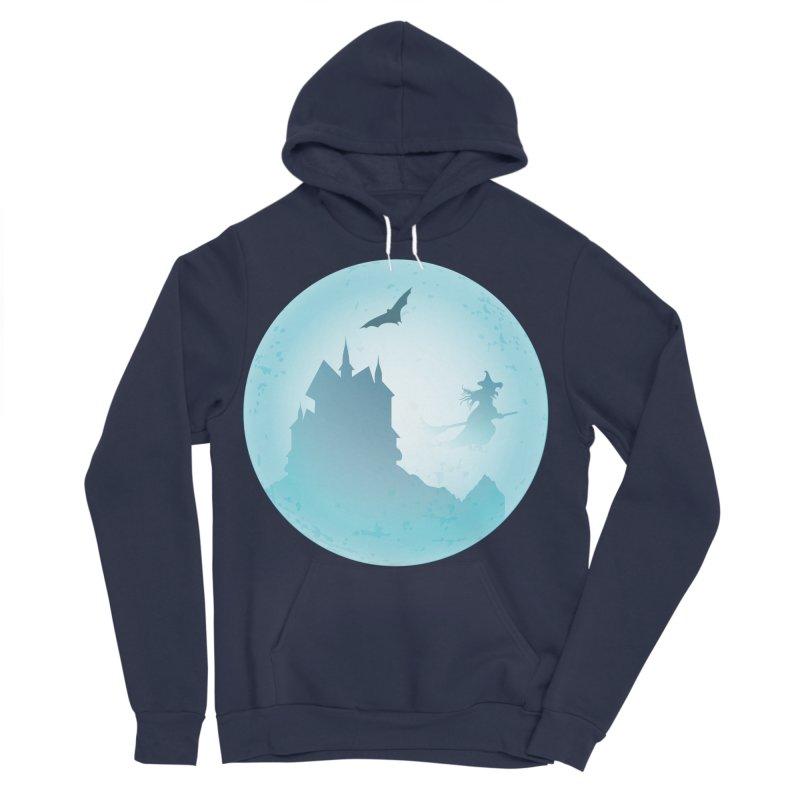 Spooky castly with bat and witch sillouetted by moon in blue. Women's Sponge Fleece Pullover Hoody by Sporkshirts's tshirt gamer movie and design shop.