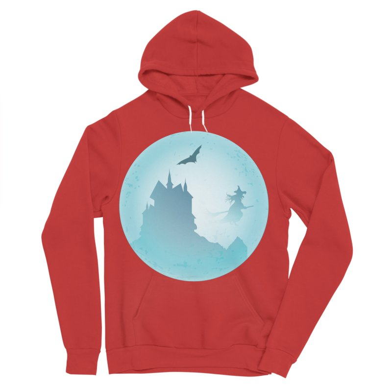 Spooky castly with bat and witch sillouetted by moon in blue. Men's Sponge Fleece Pullover Hoody by Sporkshirts's tshirt gamer movie and design shop.