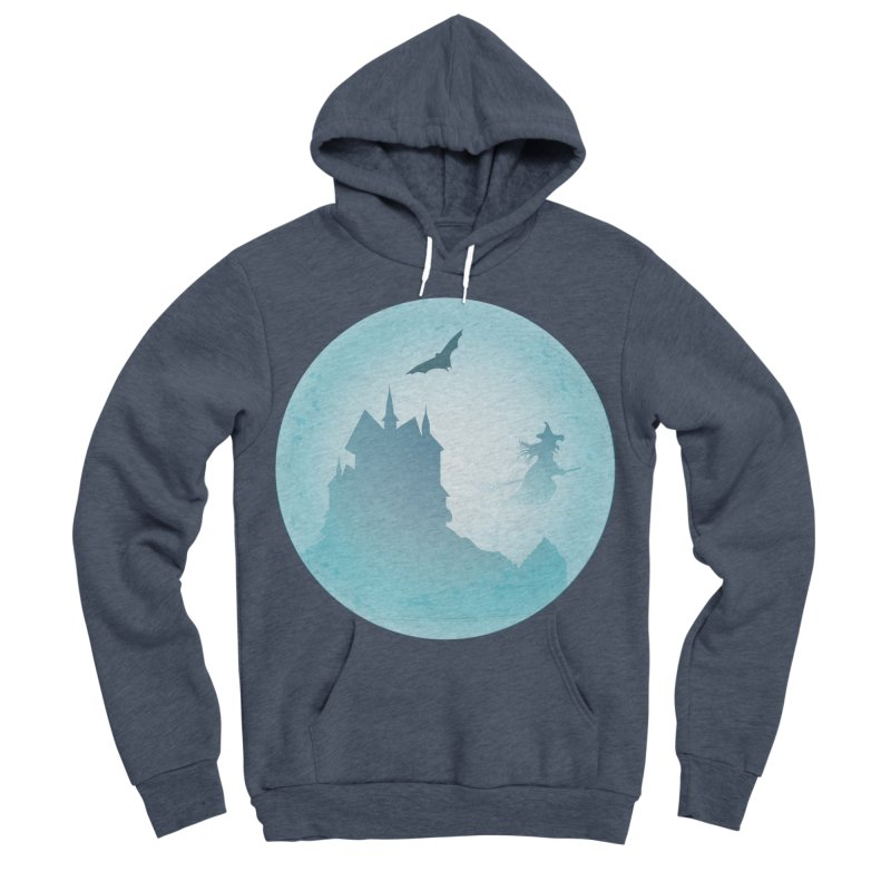 Spooky castly with bat and witch sillouetted by moon in blue. Men's Sponge Fleece Pullover Hoody by Make a statement, laugh, enjoy.