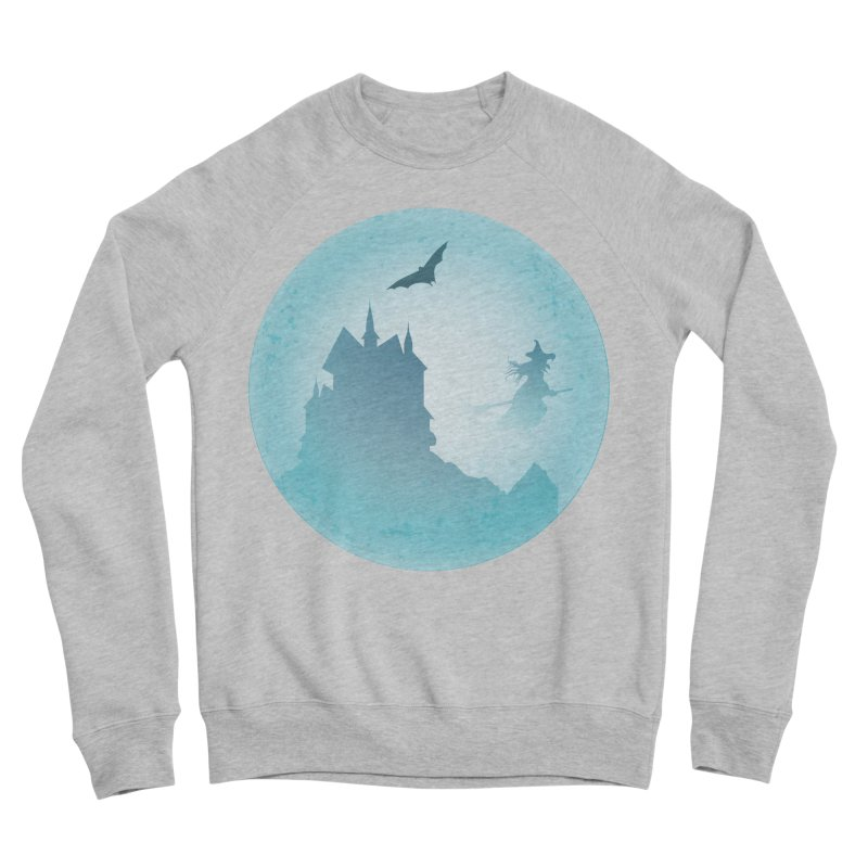 Spooky castly with bat and witch sillouetted by moon in blue. Women's Sponge Fleece Sweatshirt by Sporkshirts's tshirt gamer movie and design shop.