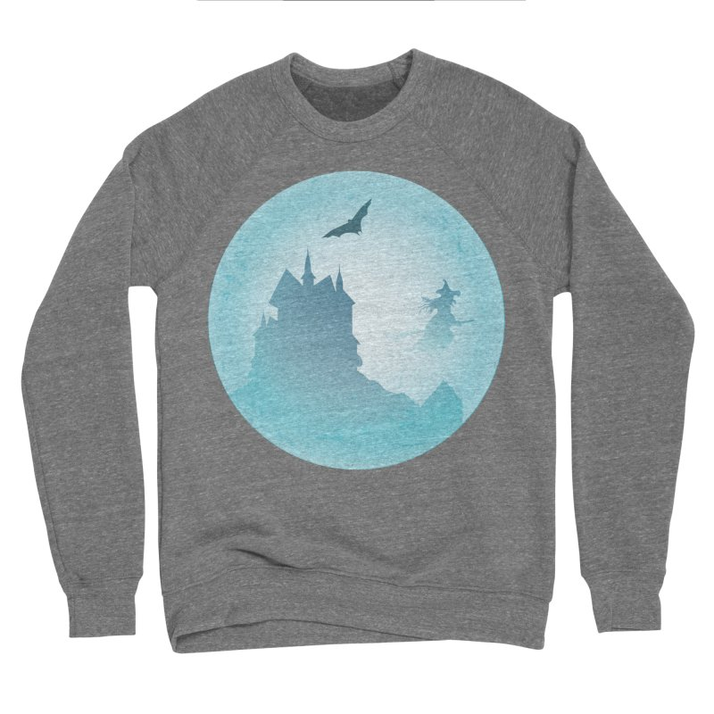 Spooky castly with bat and witch sillouetted by moon in blue. Women's Sponge Fleece Sweatshirt by Make a statement, laugh, enjoy.