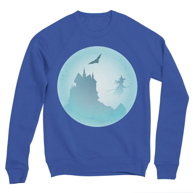 Spooky castly with bat and witch sillouetted by moon in blue. Men's Sponge Fleece Sweatshirt by Make a statement, laugh, enjoy.