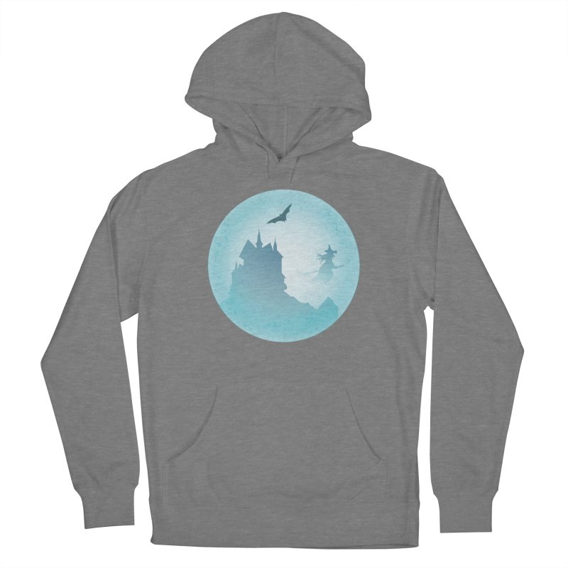 Spooky castly with bat and witch sillouetted by moon in blue. Women's Pullover Hoody by Make a statement, laugh, enjoy.
