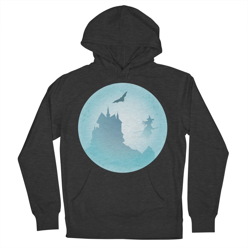 Spooky castly with bat and witch sillouetted by moon in blue. Women's French Terry Pullover Hoody by Make a statement, laugh, enjoy.