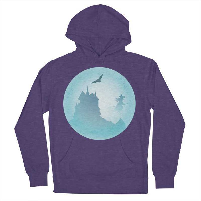 Spooky castly with bat and witch sillouetted by moon in blue. Women's French Terry Pullover Hoody by Sporkshirts's tshirt gamer movie and design shop.