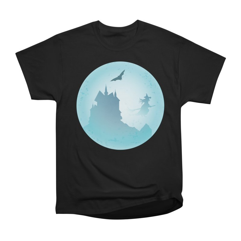 Spooky castly with bat and witch sillouetted by moon in blue. Men's Heavyweight T-Shirt by Make a statement, laugh, enjoy.